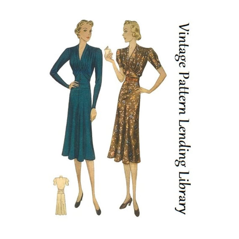 1930s Ladies Dress With Softly Gathered Bodice  Reproduction image 0