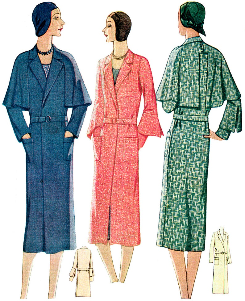 1920s Patterns – Vintage, Reproduction Sewing Patterns 1930 Ladies Coat With Optional Cape - Reproduction Sewing Pattern #T6212 $20.00 AT vintagedancer.com