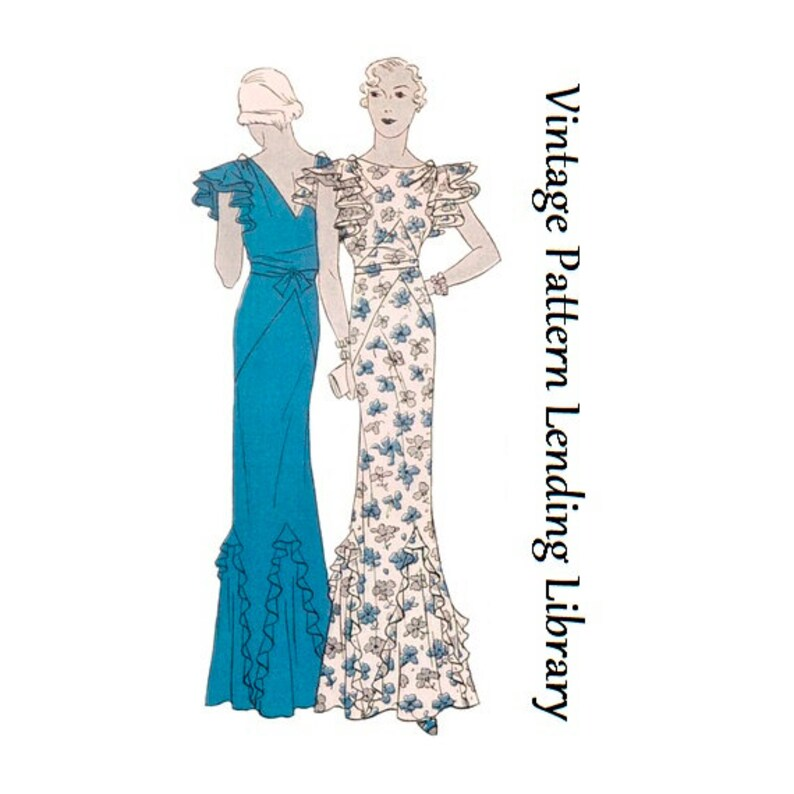 1930s Ladies Evening Gown With Ruffled Godets  Reproduction image 0