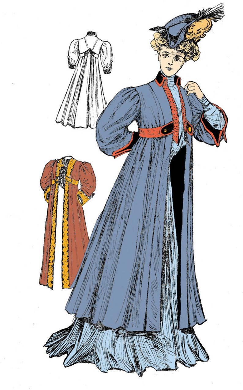 Edwardian Sewing Patterns- Dresses, Skirts, Blouses, Costumes 1910 Ladies Empire Coat - Reproduction Sewing Pattern #E2034 - 40 Inch Bust $23.00 AT vintagedancer.com