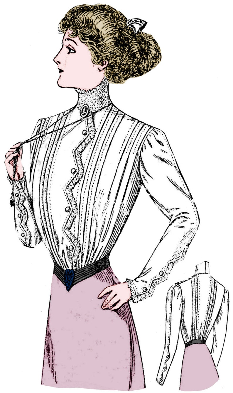 Edwardian Sewing Patterns- Dresses, Skirts, Blouses, Costumes 1908 Ladies Edwardian Era Blouse With ZigZag Detailing - Reproduction Sewing Pattern #E2997 - 36 Inch Bust - Gibson Girl $16.00 AT vintagedancer.com