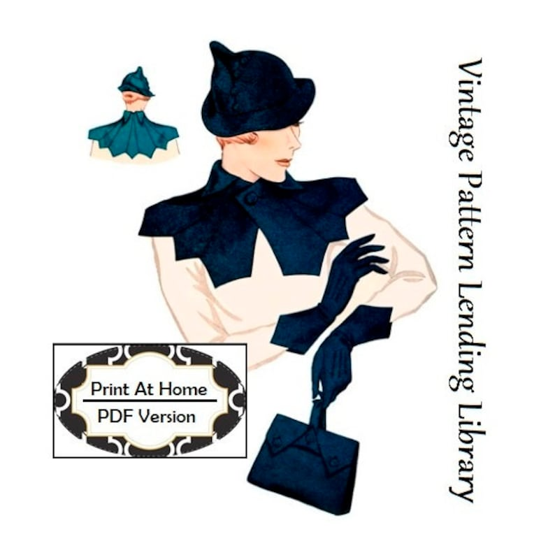 1930s Style Hats   Buy 30s Ladies Hats 1930s Ladies Hat Gloves Collar And Purse Ensemble - INSTANT DOWNLOAD - Reproduction 1934 Sewing Pattern #H1353 -PDF - Print At Home  AT vintagedancer.com