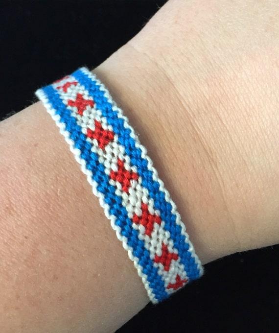 Chicago flag bracelet  Illinois bracelet