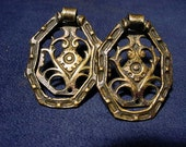 Vintage Pair Ornate Antiqued Brass Drawer Pulls Handle Salvaged Hardware Collectible