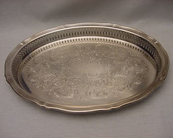 Vintage Silver Plate Oval Serving Tray Reticulated Gallery Rim Edge