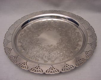 Vintage Silver Plate Round Serving Tray Reticulated Rim Edge
