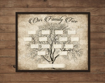 Vintage 5 Generation Family Tree Print Template Instant Etsy