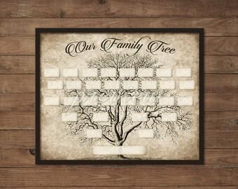 custom family tree printable 5 generation template instant etsy