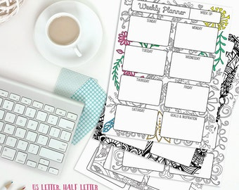 Coloring day planner | Etsy