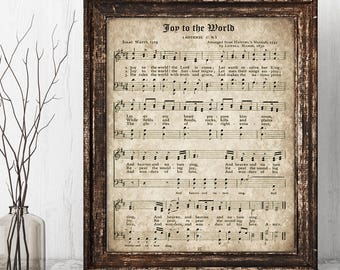 joy to the world printable christmas hymn vintage carol instant download aged antique sheet music farmhouse decor hymnal page print