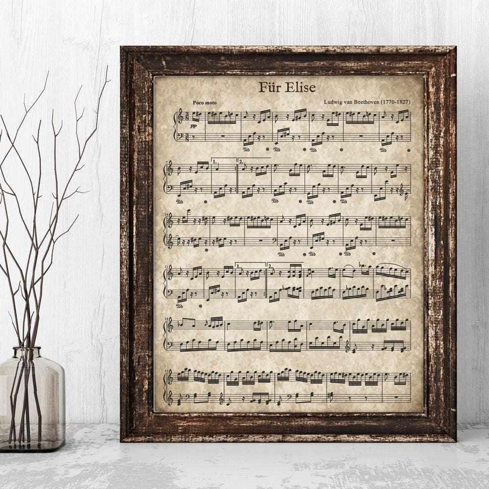 Fur Elise Printable Vintage Sheet Music Instant Download