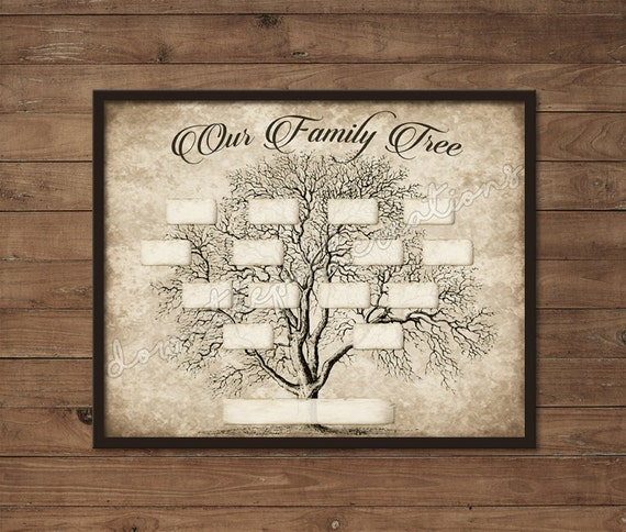 vintage family tree print template instant download etsy