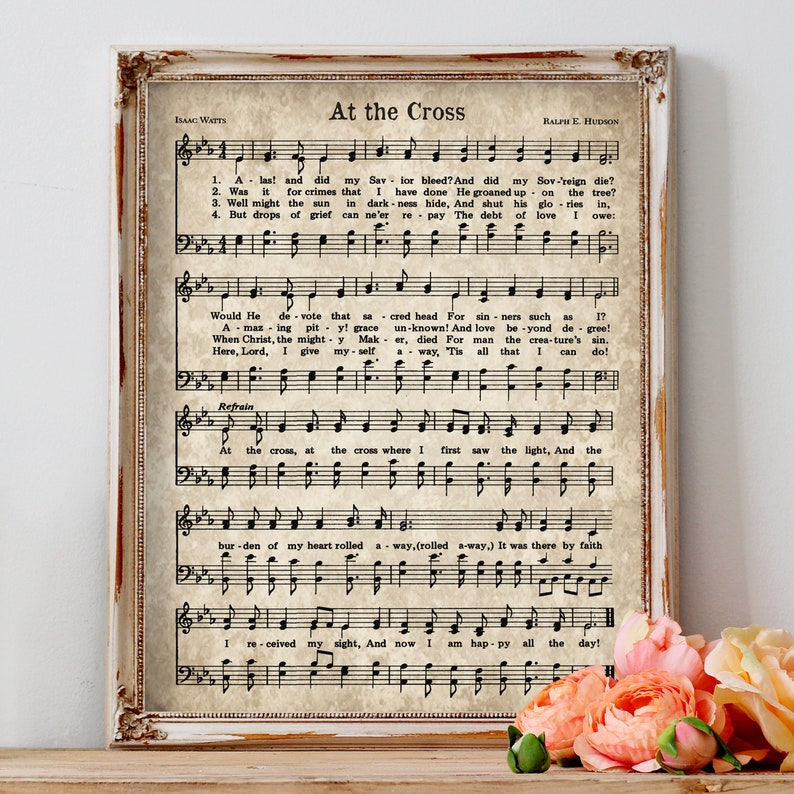 photograph about Vintage Sheet Music Printable identify At the Cross Print, Hymn Printable, Typical Sheet New music, Prompt Down load, Antique Hymn, Farmhouse Decor, Christian Artwork, Hymnal Webpage