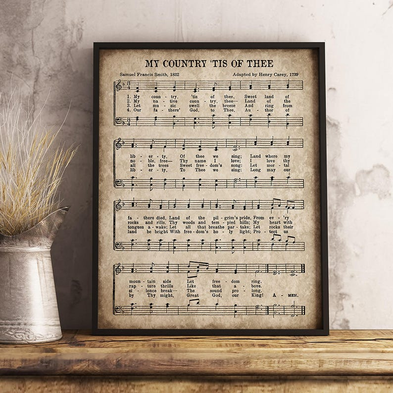 picture regarding Free Printable God Bless America Sheet Music named My Place Tis of Thee Print, Printable Classic Sheet Tunes, Instantaneous Obtain, Antique Hymn, God Bless The united states Wall Artwork, 4th of July Decor