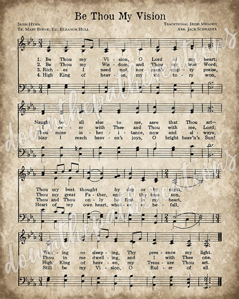 picture regarding Vintage Sheet Music Printable called Be Thou My Eyesight Print, Printable Classic Sheet Songs, Immediate Down load, Antique Hymn, Inspirational Quotation, Farmhouse Decor, Christian Artwork