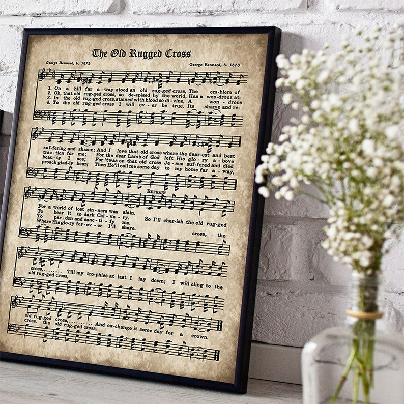 photograph regarding Printable Hymns Sheet Music known as The Outdated Rugged Cross Print, Printable Typical Sheet Audio, Prompt Down load, Outdated Antique Hymn, Inspirational Quotation, Sbook Collage