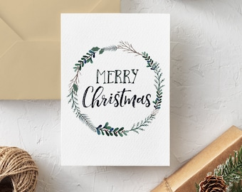 Printable Christmas Card, Merry Christmas, Watercolor Print, Instant Download, 5x7 PDF, Christian Card, Simple Holiday Greeting