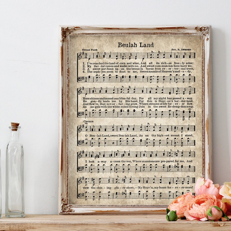 picture about Vintage Sheet Music Printable named Beulah Land Hymn Print, Printable Traditional Sheet Tunes, Quick Obtain, Antique Hymn, Bible Verse Wall Artwork, Christian Artwork, Farmhouse Decor