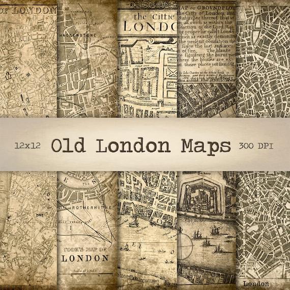 Old Street London Map.London Maps Digital Paper Instant Download Vintage Background Printable Old Street Map Antique Texture Scrapbook Paper Collage Sheet