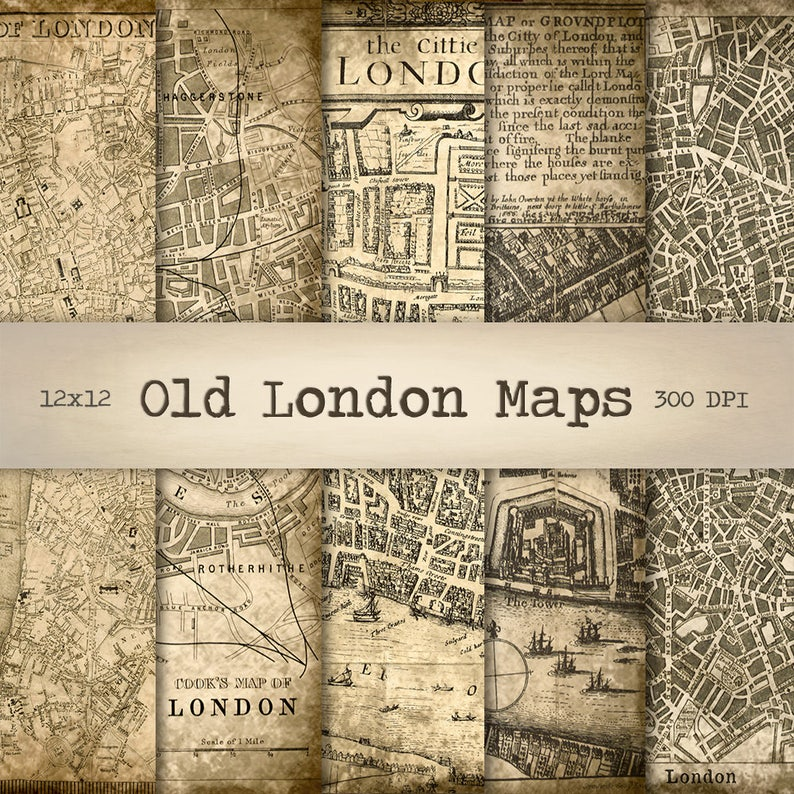 Printable London Street Map.London Maps Digital Paper Instant Download Vintage Background Printable Old Street Map Antique Texture Scrapbook Paper Collage Sheet