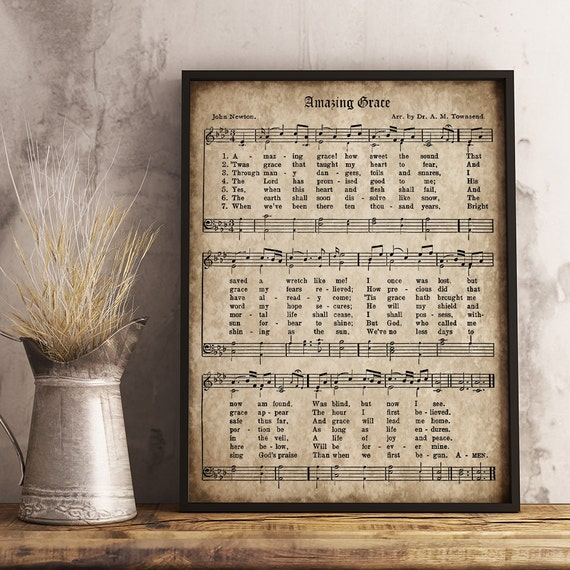 Amazing Grace Free Piano Sheet Music With Lyrics: Amazing Grace Print Printable Vintage Sheet Music Instant