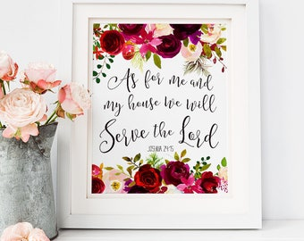As For Me and My House We Will Serve the Lord Printable, Joshua 24:15 Print, INSTANT DOWNLOAD, Bible Verse Art, Watercolor Scripture Decor