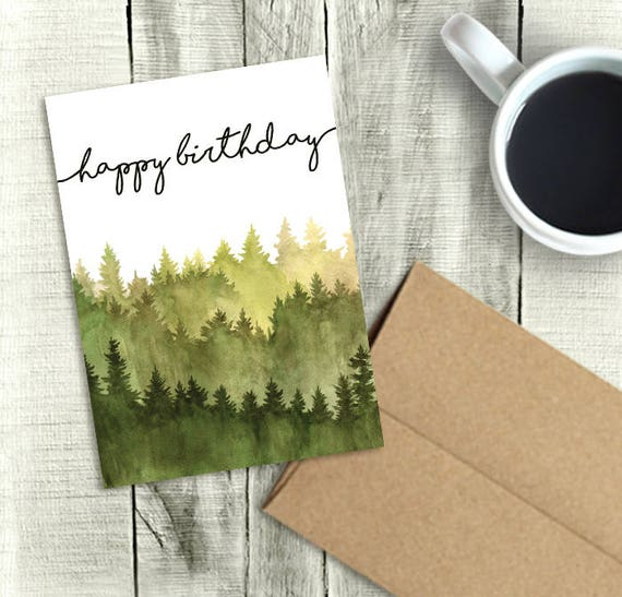 Printable Birthday Card For Him Happy Birthday Watercolor Etsy