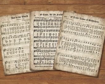 Old Christmas Carols, Set of 3 Prints, INSTANT DOWNLOAD, Printable Sheet Music, Aged Antique Hymns, Joy to the World, O Come All Ye Faithful