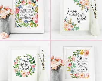Floral Nursery Prints Set of 4, Printable Baby Girl Decor, Christian Art, Child of God, You Are So Loved, Pink Bible Verse, Flower Scripture
