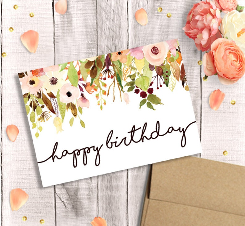 Birthday Card For Her Printable Happy Watercolor