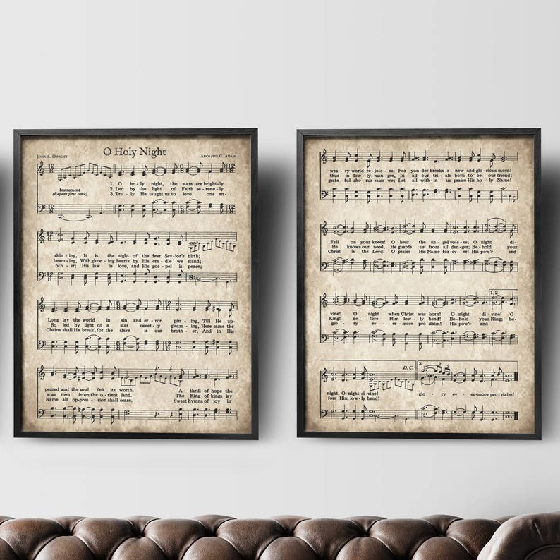 image regarding Vintage Sheet Music Printable known as O Holy Night time Classic Hymn Print, Established of 2, Fast Down load, Old Antique Sheet Songs, Printable Xmas Carol, Farm Property Decor, Wall Artwork
