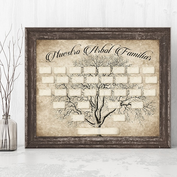 Spanish Family Tree Printable 5 Generation Template Instant Etsy