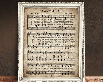 jesus paid it all piano sheet music pdf