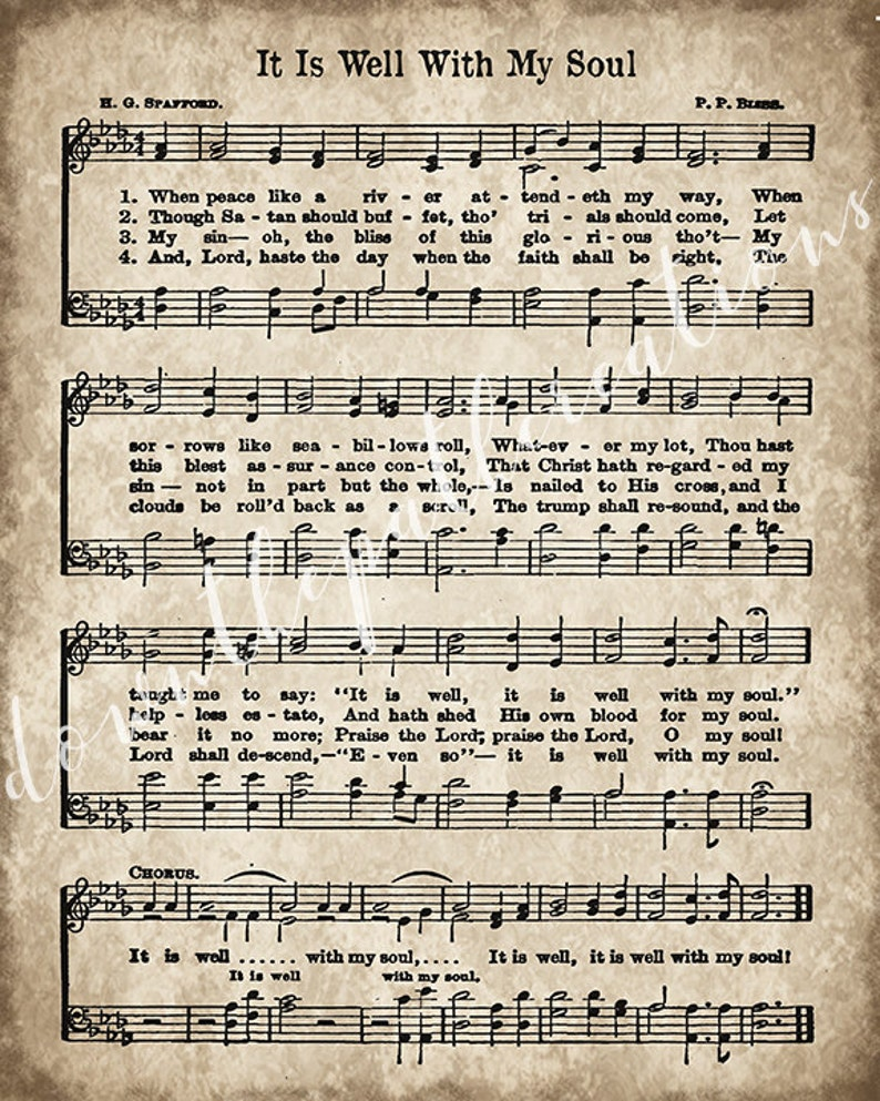 It Is Well With My Soul Print, Printable Vintage Sheet Music, Instant  Download, Aged Antique Hymn, Inspirational Quote, Scrapbook Collage