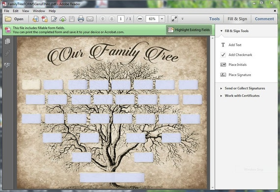 Custom Family Tree Printable 5 Generation Template Instant Etsy
