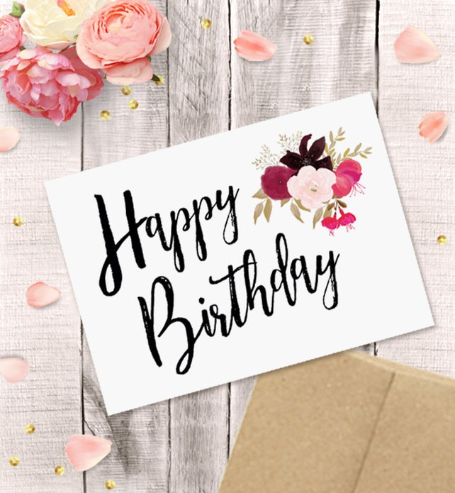 Printable Birthday Card For Her Happy Birthday Watercolor Etsy
