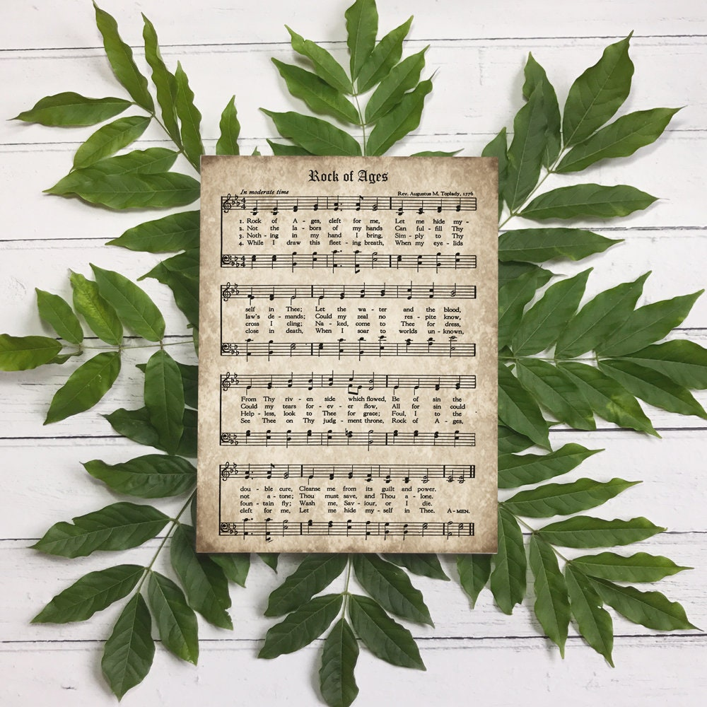 Rock of Ages Print, Printable Vintage Sheet Music, Instant Download,  Antique Hymn, Hymnal Page, Christian Wall Art, Church Decor, PDF