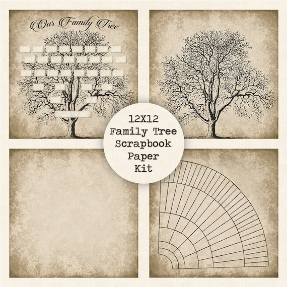 family tree digital scrapbook paper kit instant download etsy