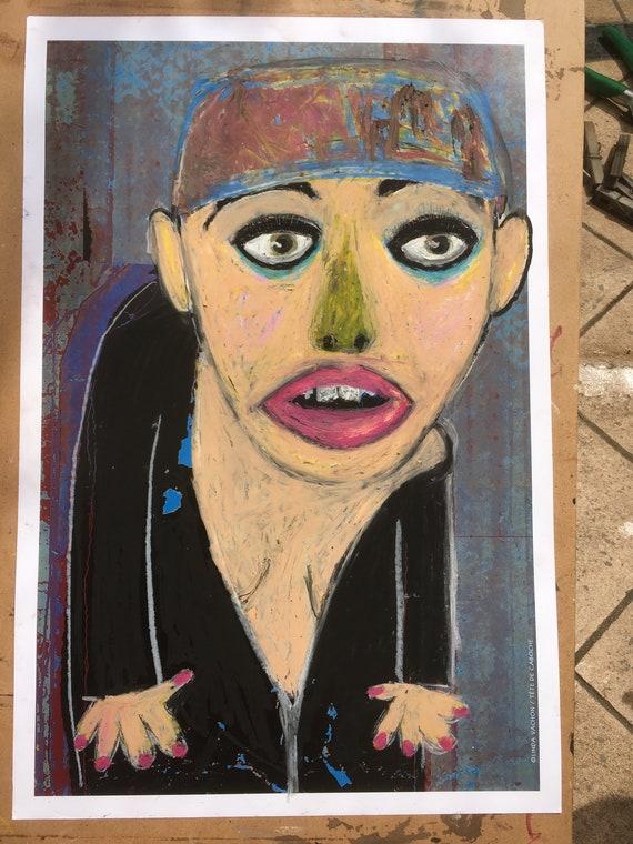 OH no, dressed Nicole! Original artwork, oil on cardboard, raw, unique, figurative art pastels