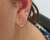 Dainty Ball Earring Jacket,Ear jacket, Stud Earring Set, Ear Cuff, Double Side Earring, Small Ear Climber,Front back Earring,bridesmaid gift
