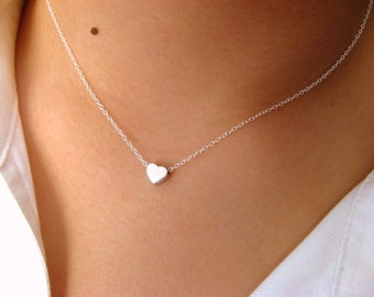 Dainty Heart Necklace, Silver Heart, Heart necklace, Sterling Silver Necklace with Tiny Heart rhodium plated, love necklace