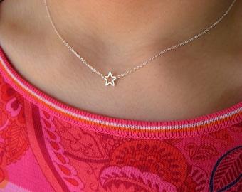 Dainty Star Necklace - Little Sterling Silver Necklace with Silver Plated Star - star necklace - gift under 20 - minimalist