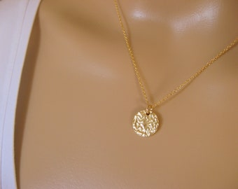 Dainty 14K gold filled necklace with textured vermeil charm - minimalist