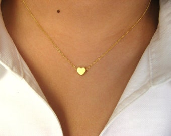 Dainty Heart Necklace, Gold Heart, Heart necklace, 14K gold filled necklace with Little Heart 14K matt gold plated, love necklace