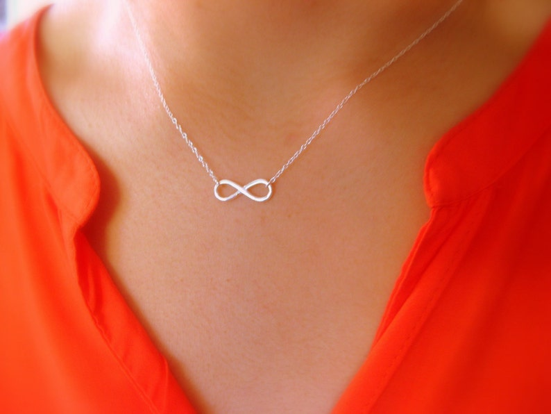 Dainty Infinity Necklace  Little Sterling Silver Necklace image 0