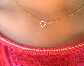Little Dainty Necklace necklace with tiny diamond - geometric necklace