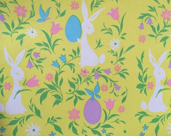Vintage gift wrapping paper happy easter paper photo vintage gift wrapping paper floral easter paper groovy retro easter bunny with eggs 1 unused full sheet easter gift wrap negle Choice Image