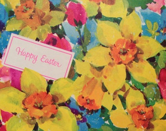 Vintage gift wrapping paper happy easter paper photo vintage gift wrapping paper happy easter paper bright spring floral fields happy easter bouquets 1 unused full sheet easter gift wrap negle Choice Image