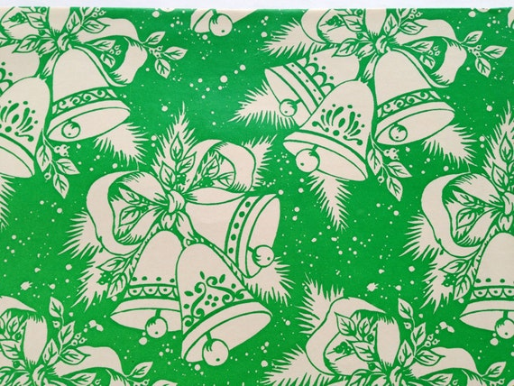 """VTG CHRISTMAS WRAPPING PAPER GIFT WRAP 24/"""" X 30/"""" SNOWFLAKES /& TREES GOLD GARLAND"""