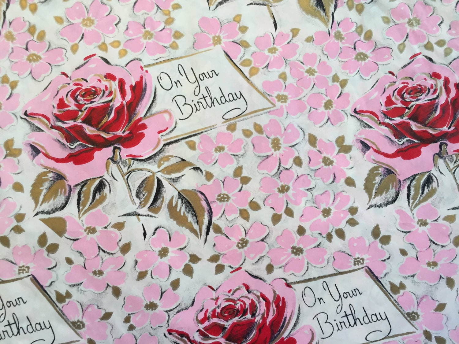 Vintage Gift Wrapping Paper Mid Century Happy Birthday Red Etsy